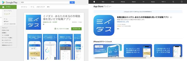 ミイダスのアプリ